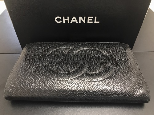 シャネル(CHANEL)長財布 キャビアスキン ブラック ココマーク 内側破れ 破損 お買取り品 マルカ