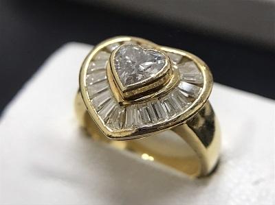 ダイヤモンド 0.95ct メレダイヤモンド ハートシェイプ リング K18 金 高価買取 出張買取