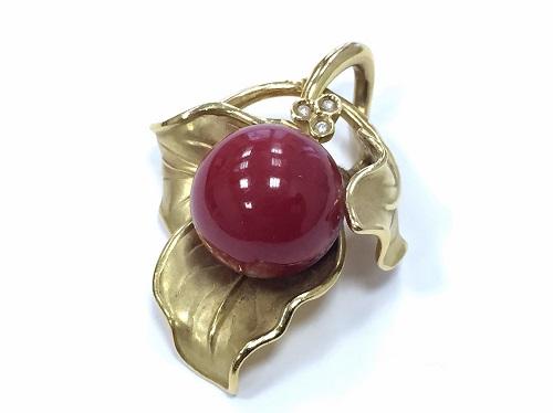 ペンダントトップ 赤珊瑚 18金 宝石