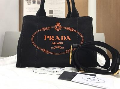 PRADA プラダ カナパトートPM キャンバス 黒 1BG439 美品 高価買取 七条店