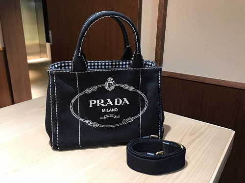 プラダ PRADA カナパトート キャンバス ブラック ストラップ付