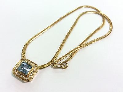 アクアマリン ネックレス 18金 750 メレダイヤモンド 宝飾品 宝石 貴金属 マルカ 四条大宮店 高価買取り