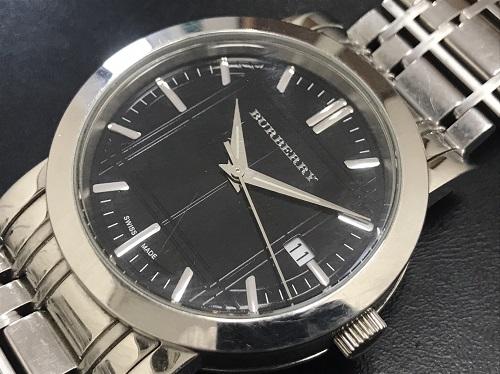 バーバリー(BURBERRY) メンズ時計 ステンレス ブラック ガラス傷 不動品 高価買取 北山店 マルカ