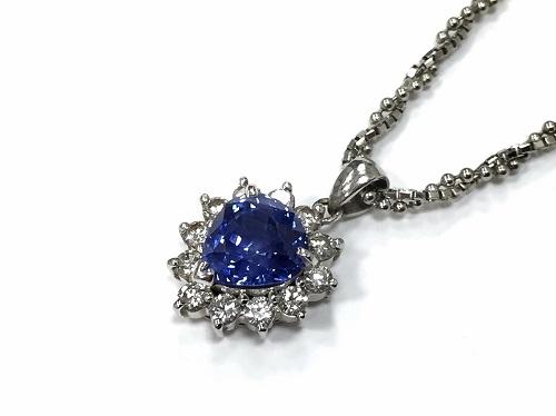 ペンダント プラチナPT850 サファイヤ 2.79ct ダイヤモンド 0.54 ct
