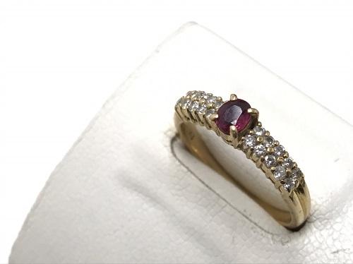 リング K18 ルビー 0.31 ダイヤモンド 0.29