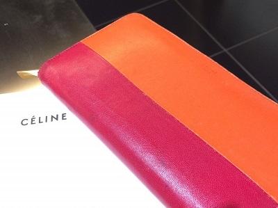 セリーヌ(CELINE)ラウンドファスナー長財布 バイカラー カーフ レッド×オレンジ