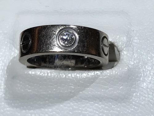 カルティエ(CARTIER) ラブリング 指輪 K18WG ハーフダイヤ ジュエリー