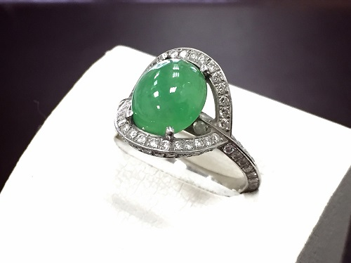 リング プラチナ900 翡翠 1.39ct メレダイヤモンド 0.34ct