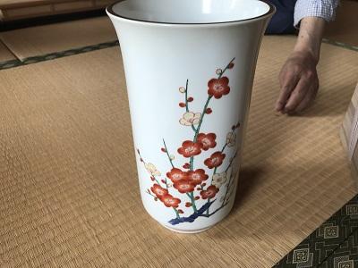 出張買取 十四代 酒井田柿右衛門 濁手 梅花文花瓶