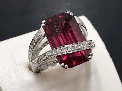 トルマリン 13.25ct メレダイヤモンド 1.02ct リング Pt900 プラチナ 宝石 出張買取