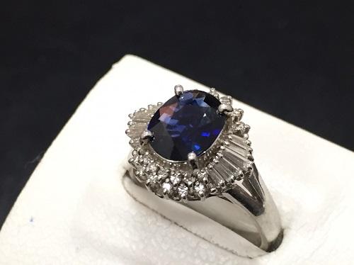 サファイヤリング プラチナPT900 サファイヤ1.56ct メレダイヤモンド0.37ct