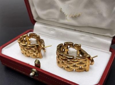 Cartier カルティエ パンテール フープピアス 750YG イエローゴールド ブランドジュエリー 高価買取 七条店