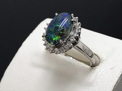 ブラックオパール 2.36ct メレダイヤモンド 0.46ct リング Pt900 プラチナ 宝石 高価買取 宅配買取