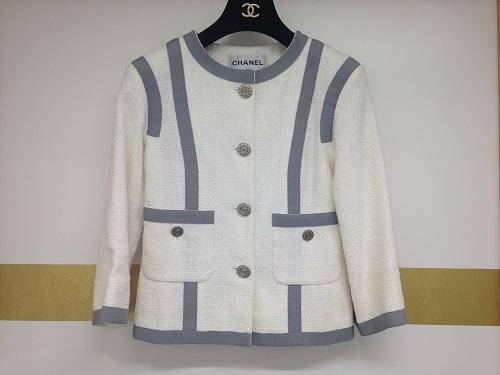 シャネル レディースジャケット ツイード ホワイト 中古美品