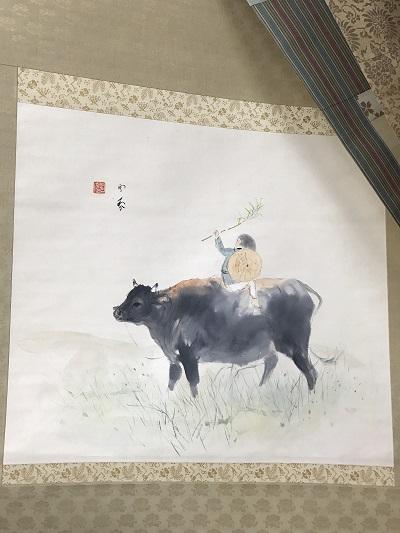堂本印象 掛軸 牛にのる子 出張買取 京都市、滋賀県