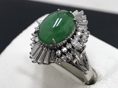 翡翠 リング メレダイヤモンド 1.00ct Pt900 プラチナ 宝石 高価買取 宅配買取