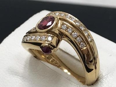 ルビー 0.383ct メレダイヤモンド 0.68ct リング K18 金 宝石 高価買取 宅配買取