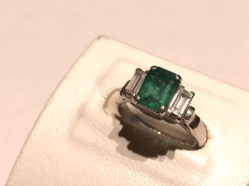 プラチナリング PM850 エメラルド 1.22ct ダイヤモンド0.37ct