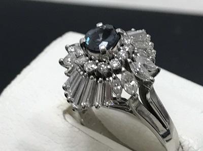 アレキサンドライト 0.61ct メレダイヤモンド 1.10ct リング Pt900 プラチナ 宝石 高価買取 七条店