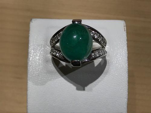 指輪 リング エメラルド(EMERALD) カボション プラチナ 宝石 ジュエリー