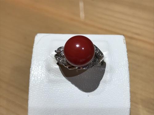 サンゴ(CORAL) 指輪 リング プラチナ ダイヤモンド(DIAMOND) 宝石
