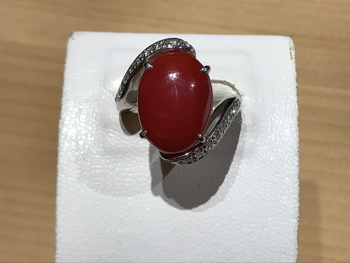 サンゴ(CORAL)  珊瑚 宝石 指輪 ダイヤモンド(DIAMOND) リング