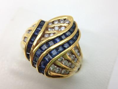 デザインリング K18 サファイア 1.01ct ダイヤモンド 0.55ct 8.0g 宝石 北山 買取
