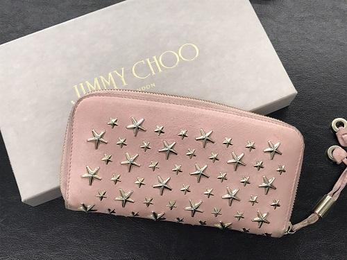 ジミーチュウ ラウンドファスナー財布 スタースタッズ ピンク 中古品 箱