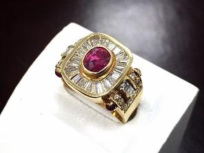 ルビー ダイヤモンド 金 指輪 ジュエリー 宝石買取 出張買取