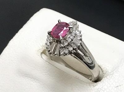 ルビー 0.45ct メレダイヤモンド 0.35ct リング Pt900 プラチナ 宝石 高価買取 宅配買取