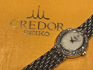 セイコー クレドール レディース 腕時計 オパール 金 ダイヤモンド 時計買取 福岡天神