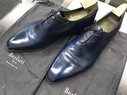 ベルルッティ(Berluti)レザーシューズ メンズ ブルー 中古美品 靴 ビジネス