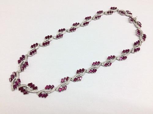 ルビー ダイヤモンド ネックレス K18WG 宝石 ホワイトゴールド 希少宝石 北山店 左京区