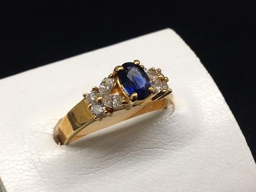 サファイアリング K18 0.66ct 0.40ct 3.7g 宝石 ダイヤモンド 北山 買取