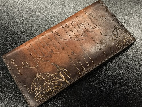 ベルルッティ(Berluti) 長札入れ レザー  財布 カリグラフィ 中古美品