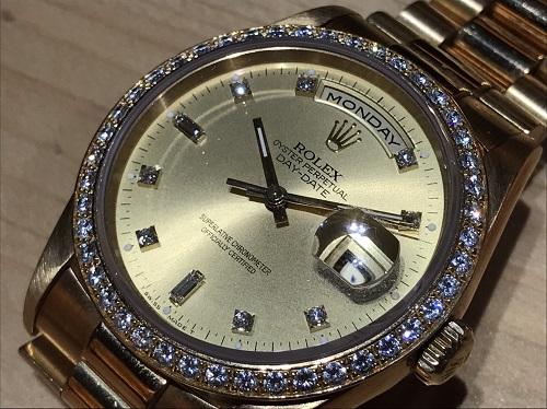 ロレックス(ROLEX) デイデイト 750 メンズ 金無垢 ダイヤ 18348A 美品 北山店 松ヶ崎 下鴨 北区