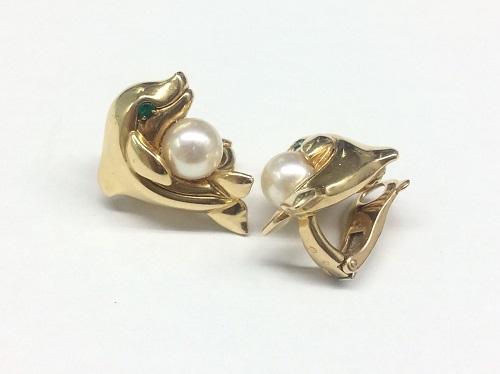 カルティエ(Cartier) パールイヤリング イルカモチーフ 750YG 宅配買取