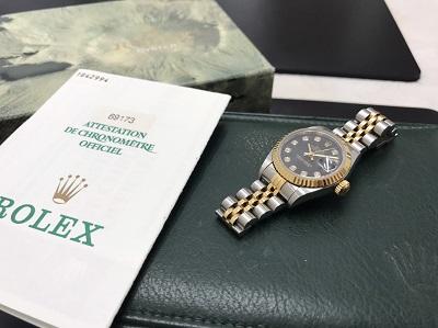 ROLEX ロレックス デイトジャスト レディース Ref.69173G 黒文字盤 高価買取 七条店