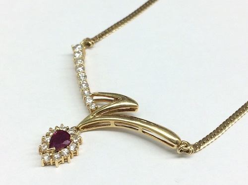 ルビー ダイヤモンド ネックレス K18 貴金属 宝石 ジュエリー 北山店 左京区 売却 金 プラチナ