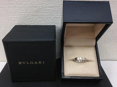 ブルガリ(BVLGARI) ダブルロゴダイヤモンドリング 750WG 16号