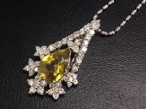 スフェーン ネックレス ダイヤモンド 宝石 K18WG 18金 ジュエリー 北山店 売却品 上京区 修学院