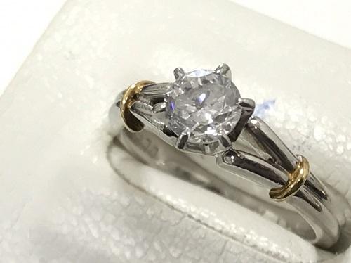 指輪 プラチナPt900 K18 ダイヤモンド 0.64ct