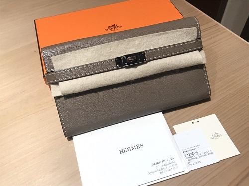 エルメス(HERAMS)ケリーウォレット/シェーブル/エトゥープ 美品 高価買取 渋谷