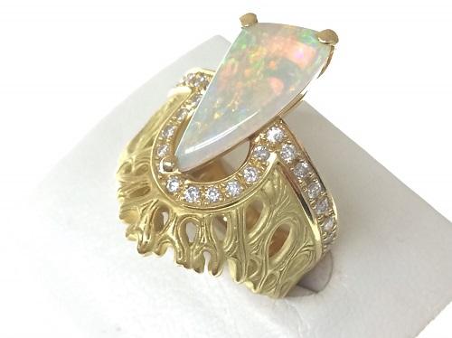 ホワイトオパール リング 指輪 2.25ct 0.37ct 13.4g ダイヤモンド 宝石 ジュエリー 北山店 左京区 きんこん館