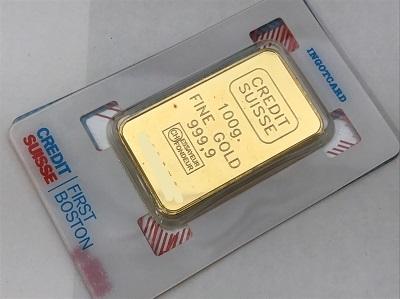 貴金属 インゴット クレジット K24(純金) スイス(CREDIT SUISSE) 100g インゴット買取 三宮 元町 神戸
