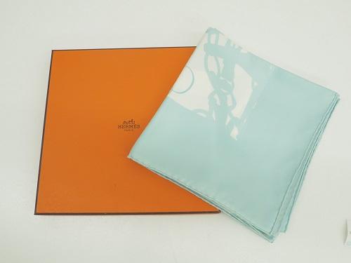エルメス(HERMES)スカーフ カレ90 シルク 水色 未使用品