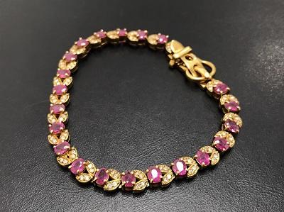 ルビー 6.34ct メレダイヤモンド 1.00ct ブレスレット K18 金 宝石 ジュエリー 高価買取 七条店