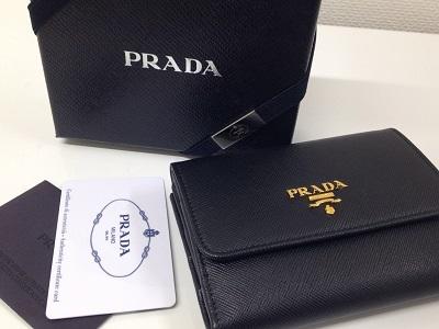 プラダ PRADA サフィアーノ 三つ折り財布 ブラック レザー