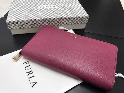 FURLA フルラ ラウンドジップ長財布 レザー ピンク 未使用 高価買取 出張買取