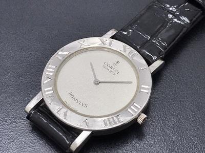 CORUM コルム ロムルス Pt × 革 プラチナ無垢 腕時計 高価買取 宅配買取